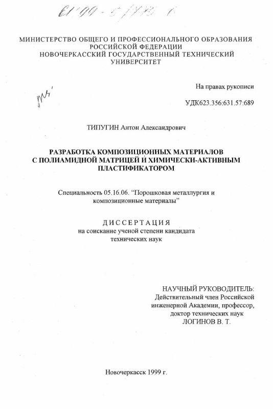 Титульный лист Разработка композиционных материалов с полиамидной матрицей и химически-активным пластификатором