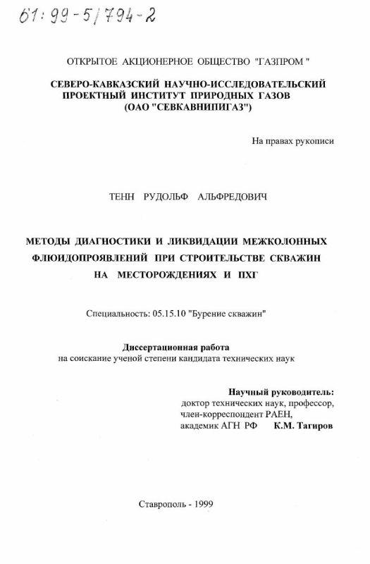Титульный лист Методы диагностики и ликвидации межколонных флюидопроявлений при строительстве скважин на месторождениях и ПХГ