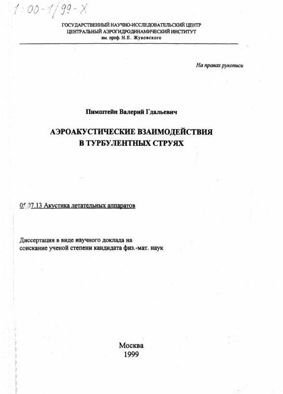Титульный лист Аэроакустические взаимодействия в турбулентных струях