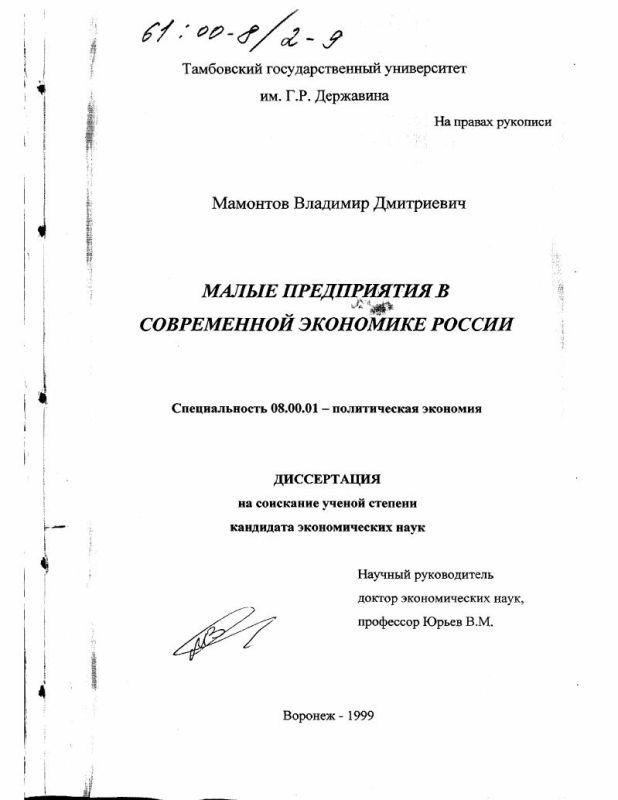 Титульный лист Малые предприятия в современной экономике России