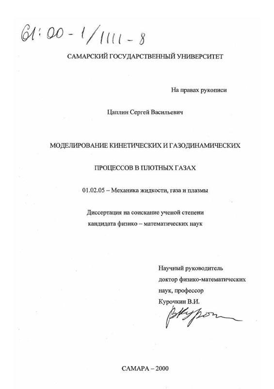 Титульный лист Моделирование кинетических и газодинамических процессов в плотных газах