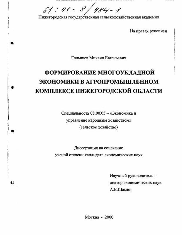 Титульный лист Формирование многоукладной экономики в агропромышленном комплексе Нижегородской области