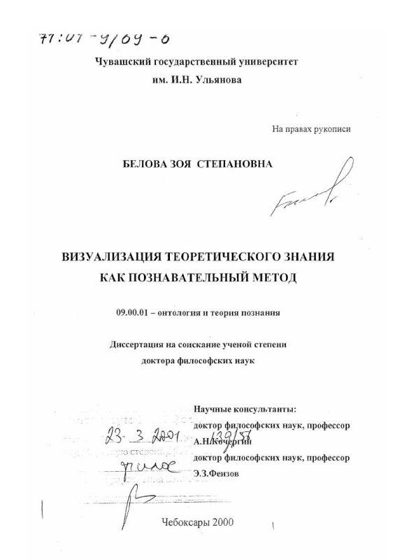Титульный лист Визуализация теоретического знания как познавательный метод
