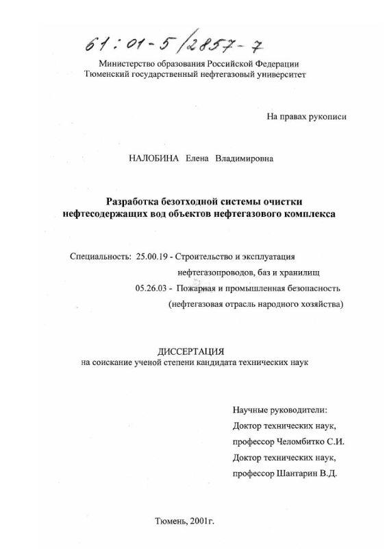 Титульный лист Разработка безотходной системы очистки нефтесодержащих вод объектов нефтегазового комплекса