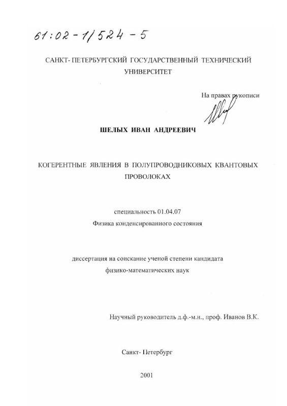 Титульный лист Когерентные явления в полупроводниковых квантовых проволоках