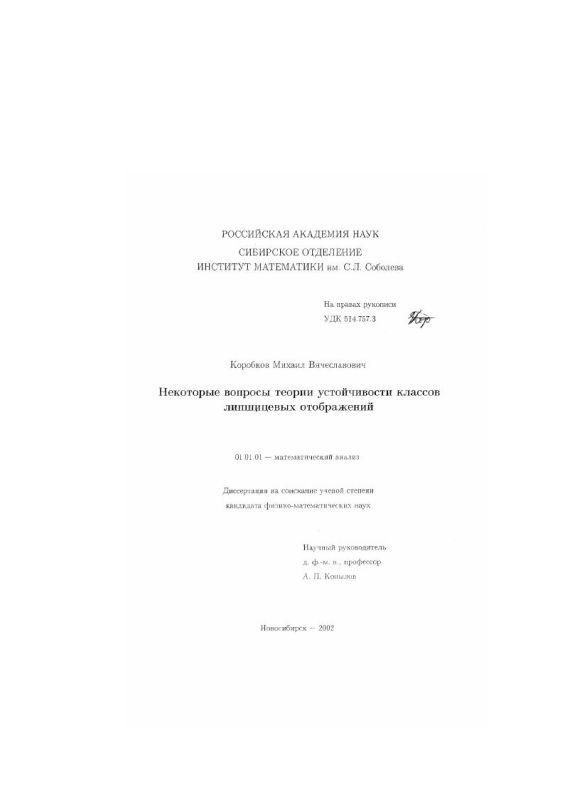 Титульный лист Некоторые вопросы теории устойчивости классов липшицевых отображений