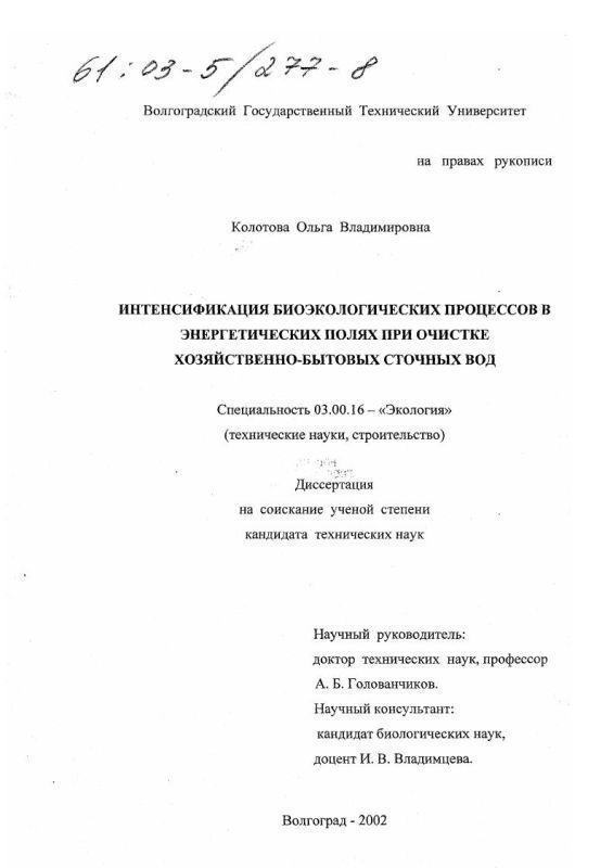 Титульный лист Интенсификация биоэкологических процессов в энергетических полях при очистке хозяйственно-бытовых сточных вод