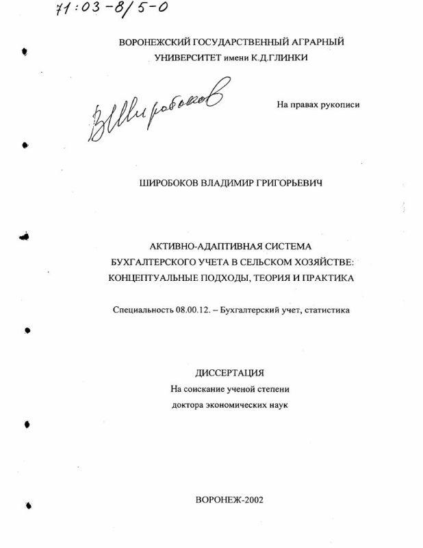 Титульный лист Активно-адаптивная система бухгалтерского учета в сельском хозяйстве : Концептуальные подходы, теория и практика