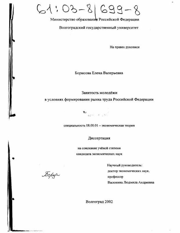 Титульный лист Занятость молодежи в условиях формирования рынка труда Российской Федерации