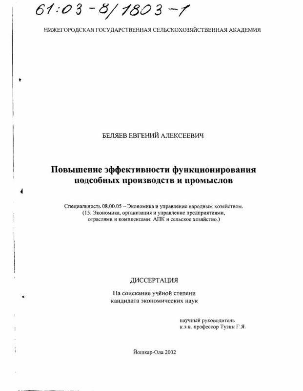Титульный лист Повышение эффективности функционирования подсобных производств и промыслов
