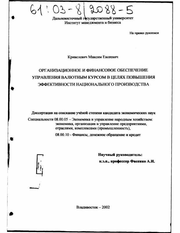 Титульный лист Организационное и финансовое обеспечение управления валютным курсом в целях повышения эффективности национального производства