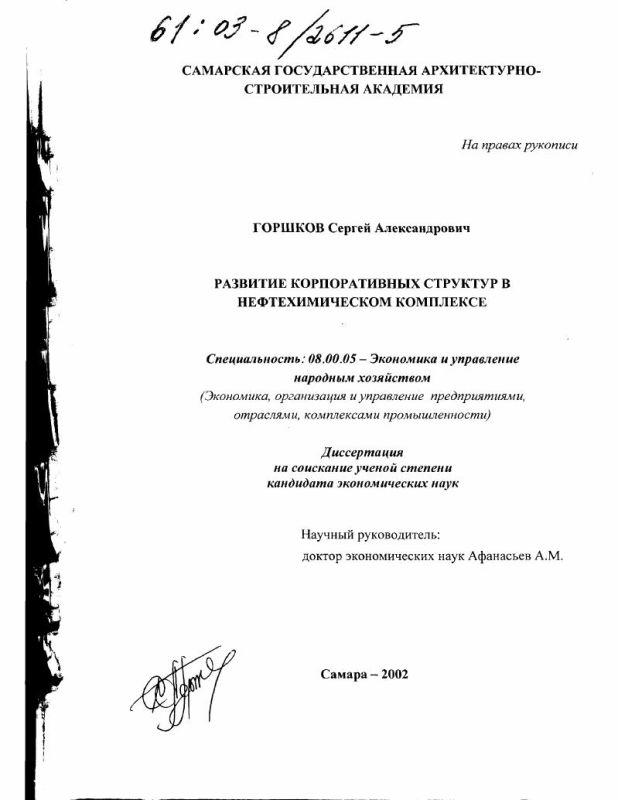 Титульный лист Развитие корпоративных структур в нефтехимическом комплексе
