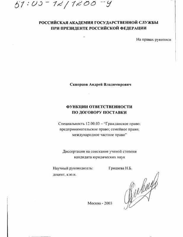 Титульный лист Функции ответственности по договору поставки
