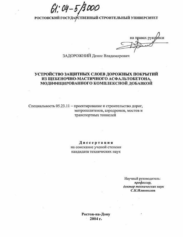 Титульный лист Устройство защитных слоев дорожных покрытий из щебеночно-мастичного асфальтобетона, модифицированного комплексной добавкой