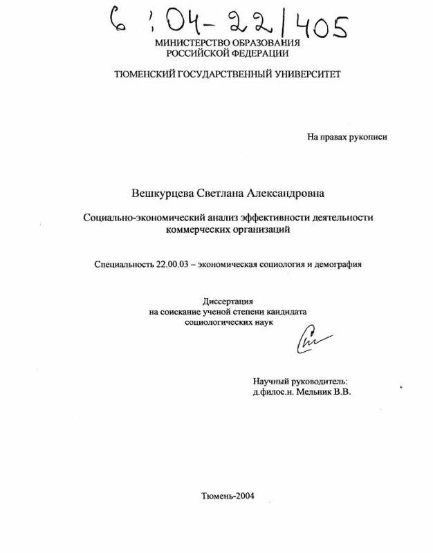 Титульный лист Социально-экономический анализ эффективности деятельности коммерческих организаций