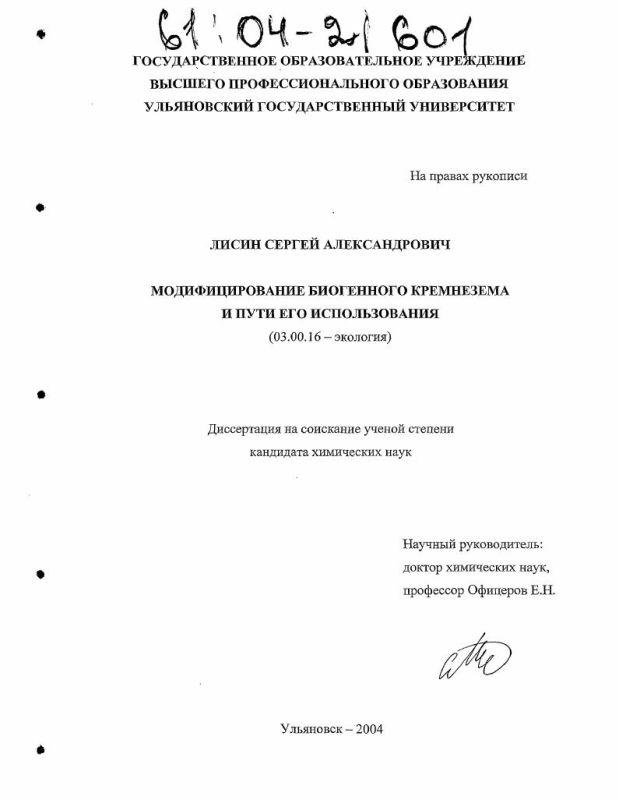 Титульный лист Модифицирование биогенного кремнезема и пути его использования