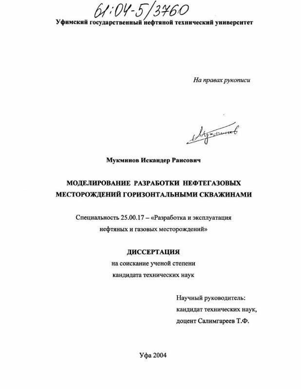 Титульный лист Моделирование разработки нефтегазовых месторождений горизонтальными скважинами