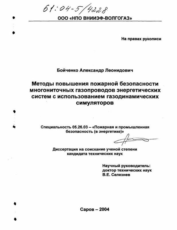 Титульный лист Методы повышения пожарной безопасности многониточных газопроводов энергетических систем с использованием газодинамических симуляторов