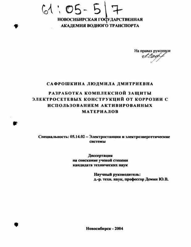 Титульный лист Разработка комплексной защиты электросетевых конструкций от коррозии с использованием активированных материалов