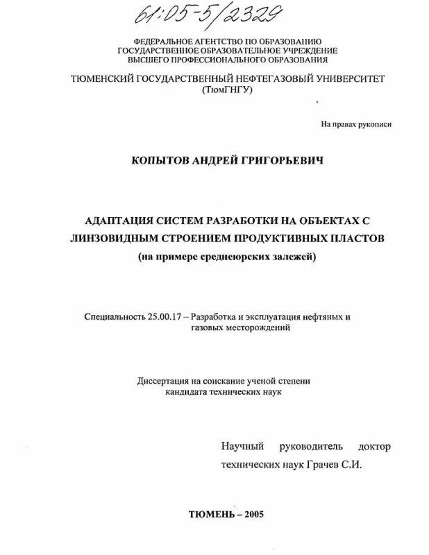 Титульный лист Адаптация систем разработки на объектах с линзовидным строением продуктивных пластов : На примере среднеюрских залежей