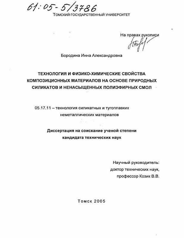 Титульный лист Технология и физико-химические свойства композиционных материалов на основе природных силикатов и ненасыщенных полиэфирных смол