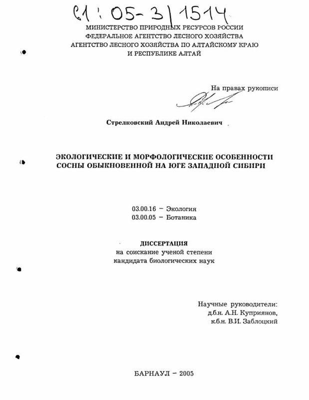 Титульный лист Экологические и морфологические особенности сосны обыкновенной на юге Западной Сибири