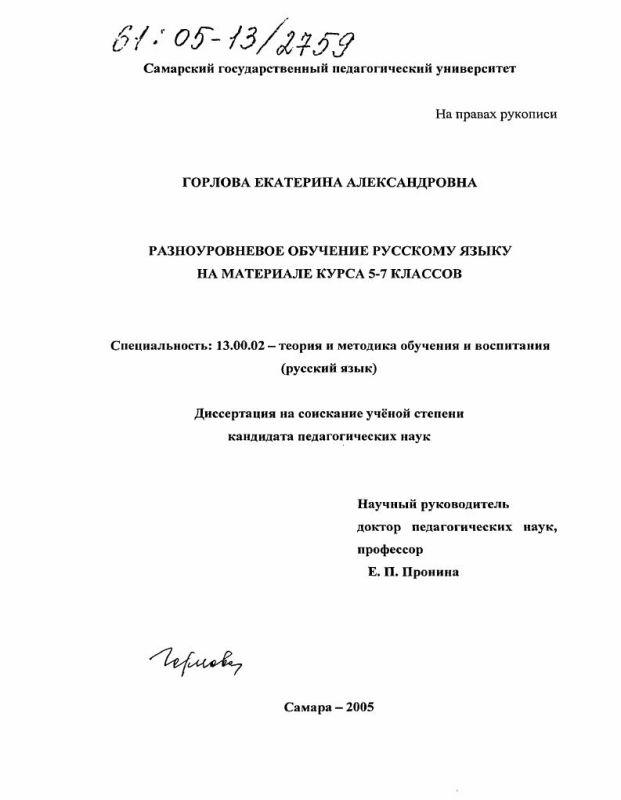 Титульный лист Разноуровневое обучение русскому языку на материале курса 5-7 классов