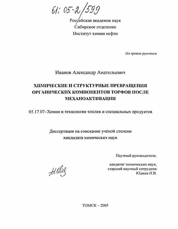 Титульный лист Химические и структурные превращения органических компонентов торфов после механоактивации