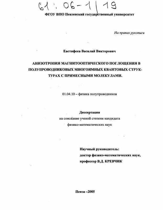 Титульный лист Анизотропия магнитооптического поглощения в полупроводниковых многоямных квантовых структурах с примесными молекулами