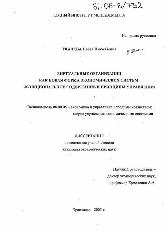 Титульный лист Виртуальные организации как новая форма экономических систем : Функциональное содержание и принципы управления