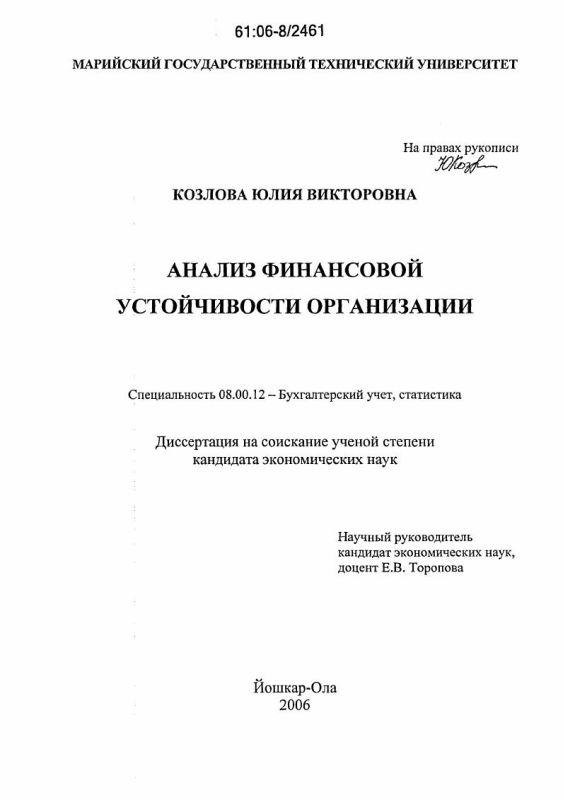 Титульный лист Анализ финансовой устойчивости организации