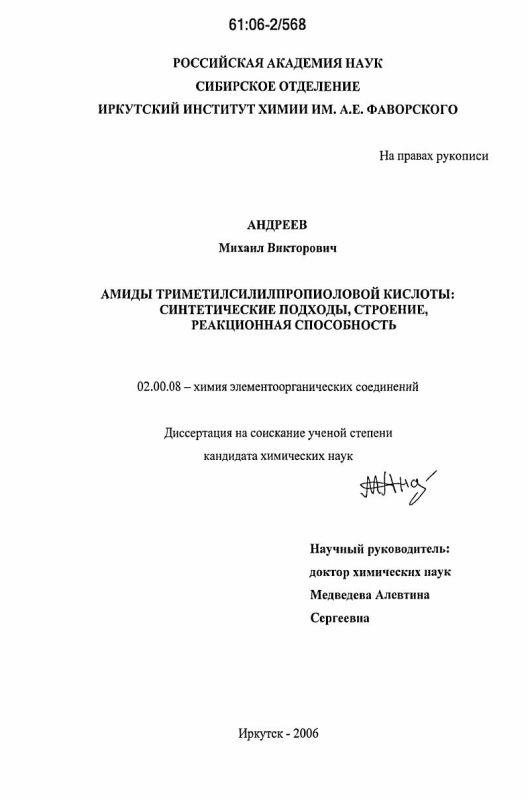 Титульный лист Амиды триметилсилилпропиоловой кислоты: синтетические подходы, строение, реакционная способность