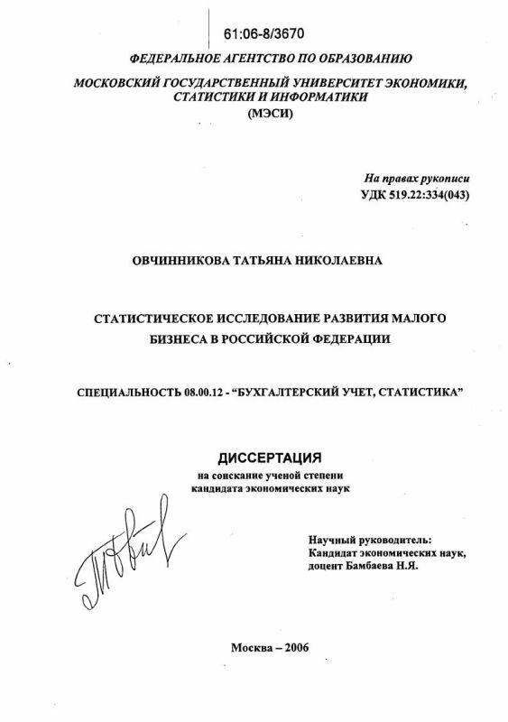 Титульный лист Статистическое исследование развития малого бизнеса в Российской Федерации