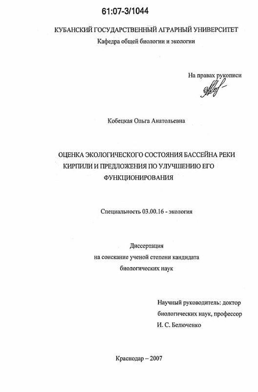 Титульный лист Оценка экологического состояния бассейна реки Кирпили и предложения по улучшению его функционирования