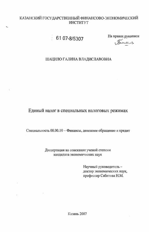 Титульный лист Единый налог в специальных налоговых режимах