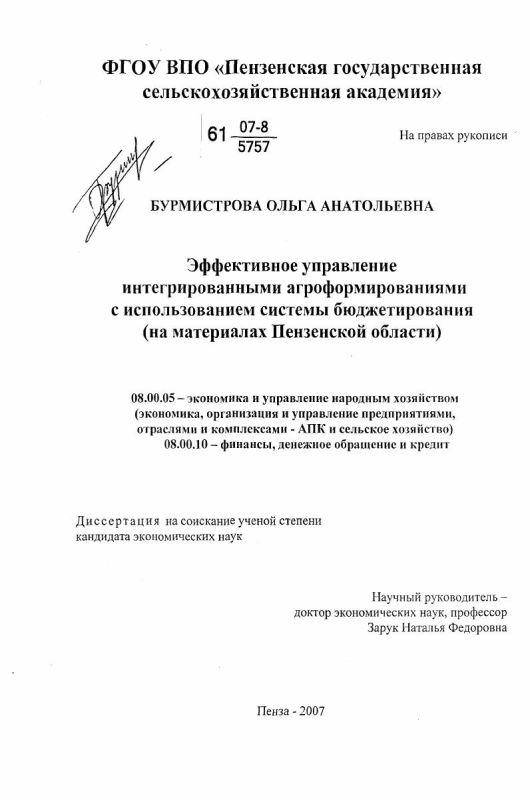 Титульный лист Эффективное управление интегрированными агроформированиями с использованием системы бюджетирования : на материалах Пензенской области