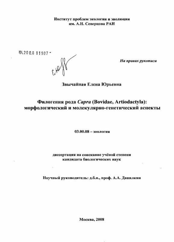 Титульный лист Филогения рода Capra (Bovidae, Artiodactyla): морфологический и молекулярно-генетический аспекты