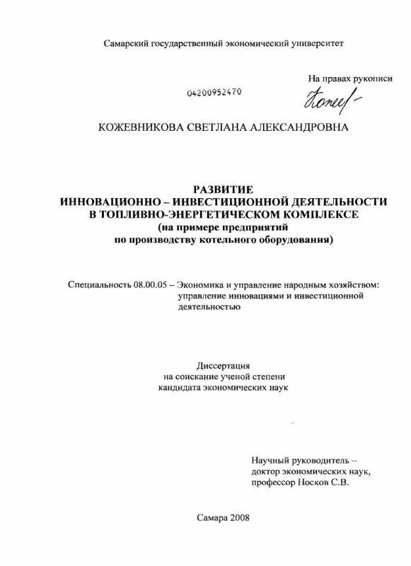 Титульный лист Развитие инновационно-инвестиционной деятельности в топливно-энергетическом комплексе : на примере предприятий по производству котельного оборудования