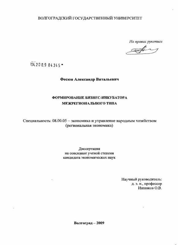 Титульный лист Формирование бизнес-инкубатора межрегионального типа