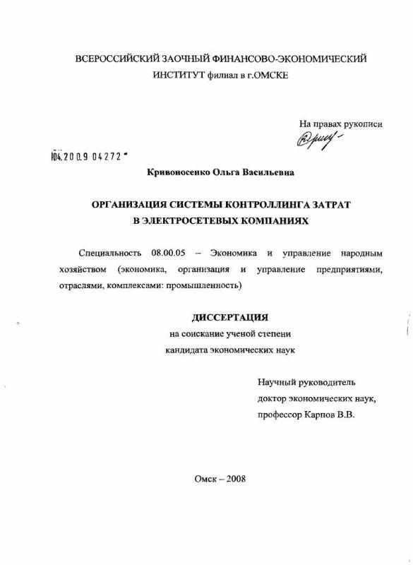 Титульный лист Организация подсистемы контроллинга затрат в электросетевых компаниях