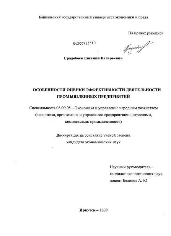 Титульный лист Особенности оценки эффективности деятельности промышленных предприятий