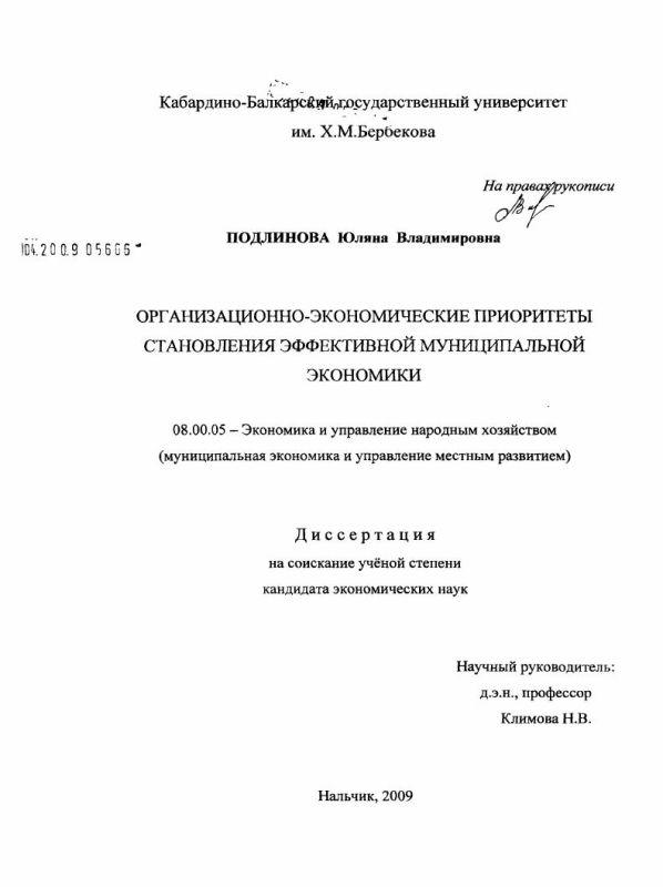 Титульный лист Организационно-экономические приоритеты становления эффективной муниципальной экономики