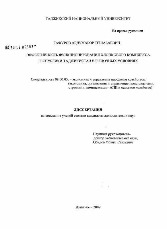 Титульный лист Эффективность функционирования хлопкового комплекса Республики Таджикистан в рыночных условиях