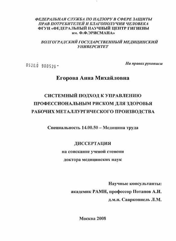 Титульный лист Системный подход к управлению профессиональным риском для здоровья рабочих металлургического производства