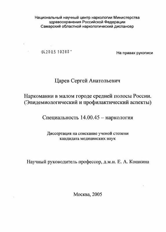 Титульный лист Наркомании в малом городе средней полосы России (эпидемиологический и профилактический аспекты)