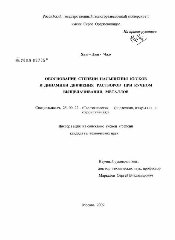 Титульный лист Обоснование степени насыщения кусков и динамики движения растворов при кучном выщелачивании металлов