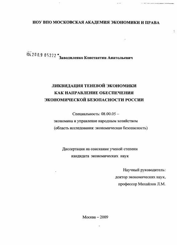 Титульный лист Ликвидация теневой экономики как направление обеспечения экономической безопасности России