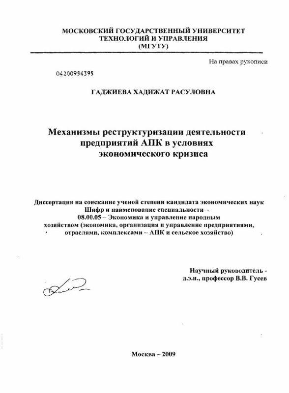 Титульный лист Механизмы реструктуризации деятельности предприятий АПК в условиях экономического кризиса
