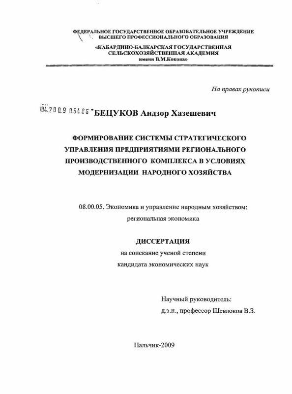 Титульный лист Формирование системы стратегического управления предприятиями регионального производственного комплекса в условиях модернизации народного хозяйства