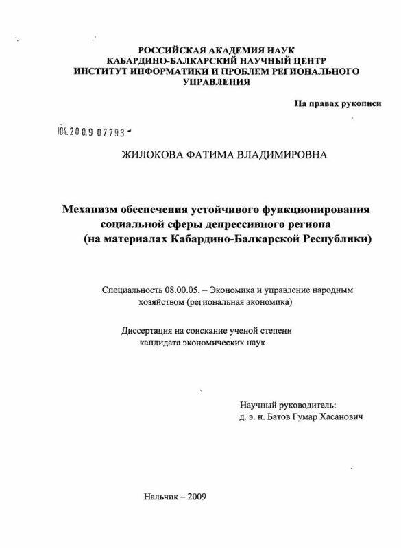Титульный лист Механизм обеспечения устойчивого функционирования социальной сферы депрессивного региона : на материалах Кабардино-Балкарской Республики